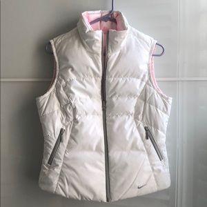 Nike reversible white pink puffer vest